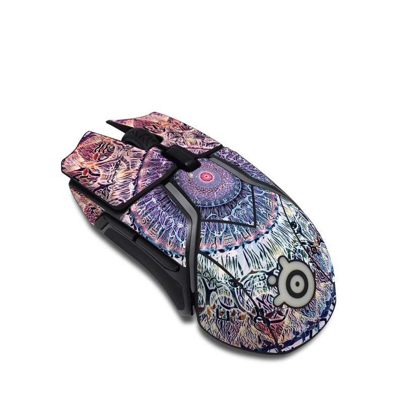SteelSeries Rival 600 Gaming Mouse Skin design of Tapestry, Pattern, Art, Close-up, Circle, Fractal art, Textile, Eye, Design, Kaleidoscope with blue, red, yellow, purple, green colors