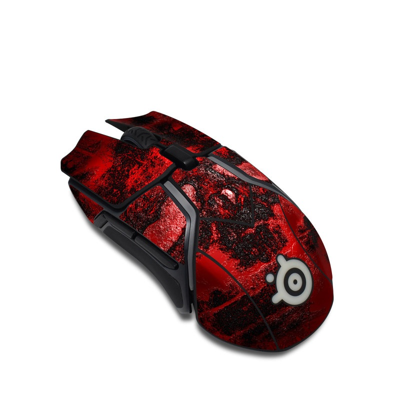 SteelSeries Rival 600 Gaming Mouse Skin design of Red, Heart, Graphics, Pattern, Skull, Graphic design, Flesh, Visual arts, Art, Illustration with black, red colors