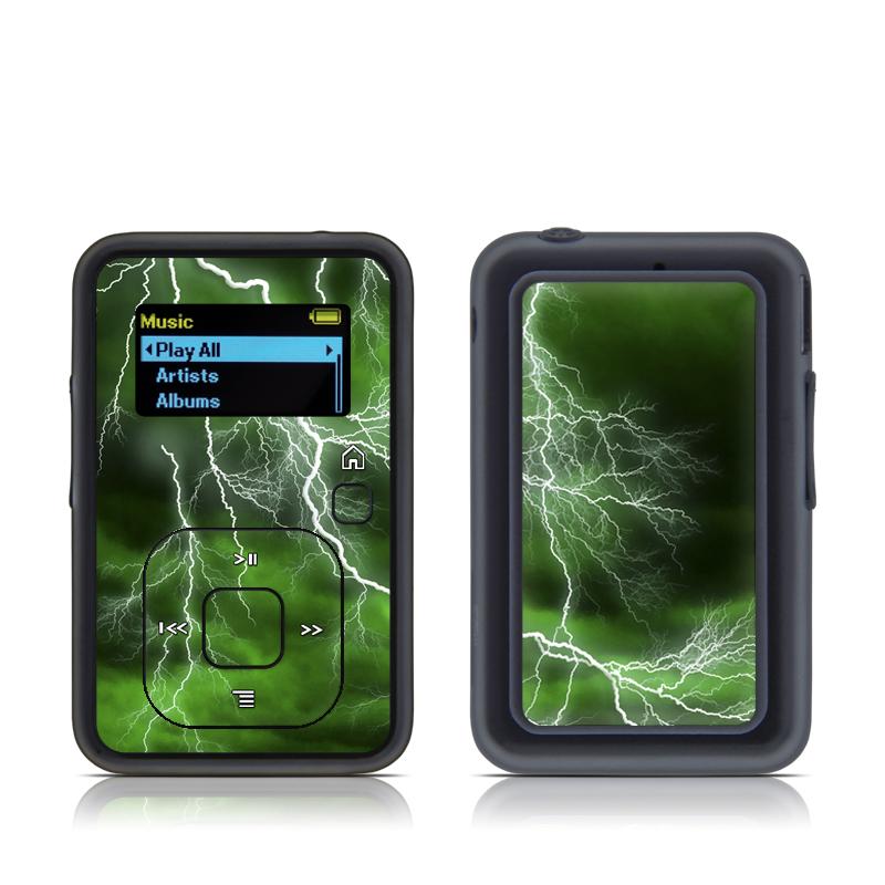 SanDisk Sansa Clip+ Skin design of Thunderstorm, Thunder, Lightning, Nature, Green, Water, Sky, Atmosphere, Atmospheric phenomenon, Daytime with green, black, white colors