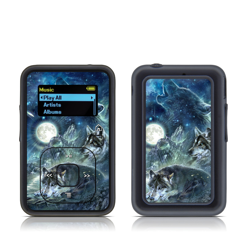 SanDisk Sansa Clip+ Skin design of Cg artwork, Fictional character, Darkness, Werewolf, Illustration, Wolf, Mythical creature, Graphic design, Dragon, Mythology with black, blue, gray, white colors