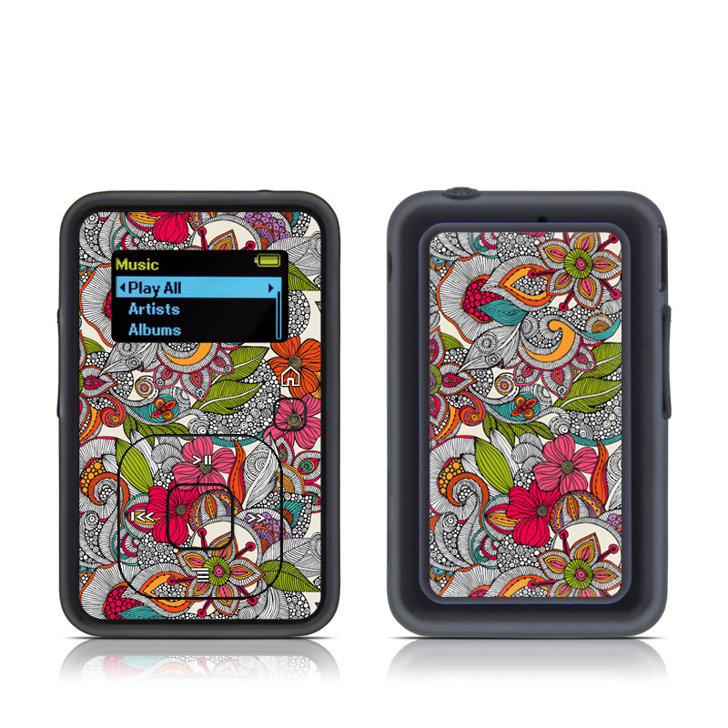 SanDisk Sansa Clip+ Skin design of Pattern, Drawing, Visual arts, Art, Design, Doodle, Floral design, Motif, Illustration, Textile with gray, red, black, green, purple, blue colors