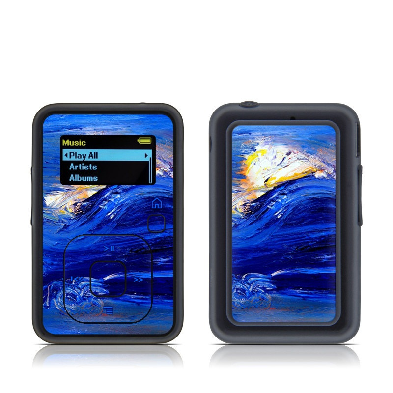 SanDisk Sansa Clip+ Skin design of Water, Blue, Wind wave, Wave, Painting, Acrylic paint, Modern art, Art, Visual arts, Watercolor paint with blue, black, gray colors