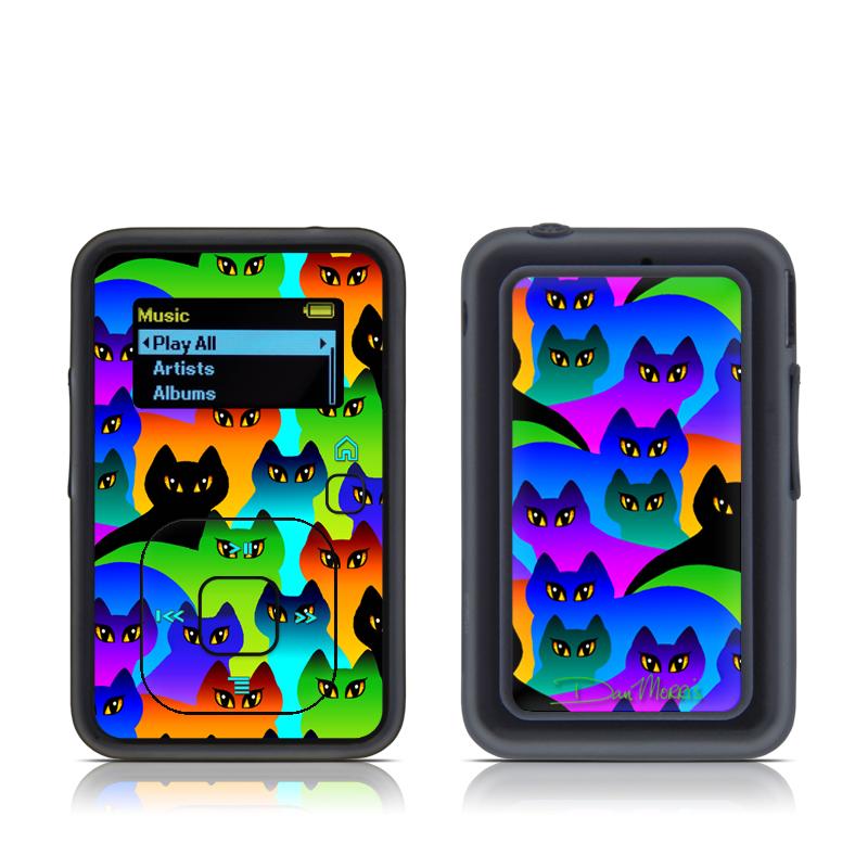 SanDisk Sansa Clip+ Skin design of Black cat, Purple, Cat, Small to medium-sized cats, Pattern, Design, Felidae, Illustration, Art with black, blue, green, purple colors