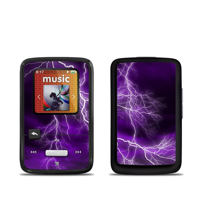 SanDisk Sansa Clip Zip Skin design of Thunder, Lightning, Thunderstorm, Sky, Nature, Purple, Violet, Atmosphere, Storm, Electric blue with purple, black, white colors