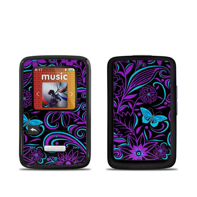 SanDisk Sansa Clip Zip Skin design of Pattern, Purple, Violet, Turquoise, Teal, Design, Floral design, Visual arts, Magenta, Motif with black, purple, blue colors