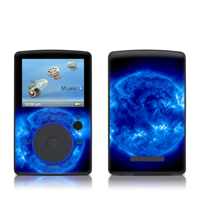 SanDisk Sansa Fuze Original Skin design of Blue, Astronomical object, Outer space, Atmosphere, Electric blue, Earth, Planet, Water, Space, Universe with blue, black colors