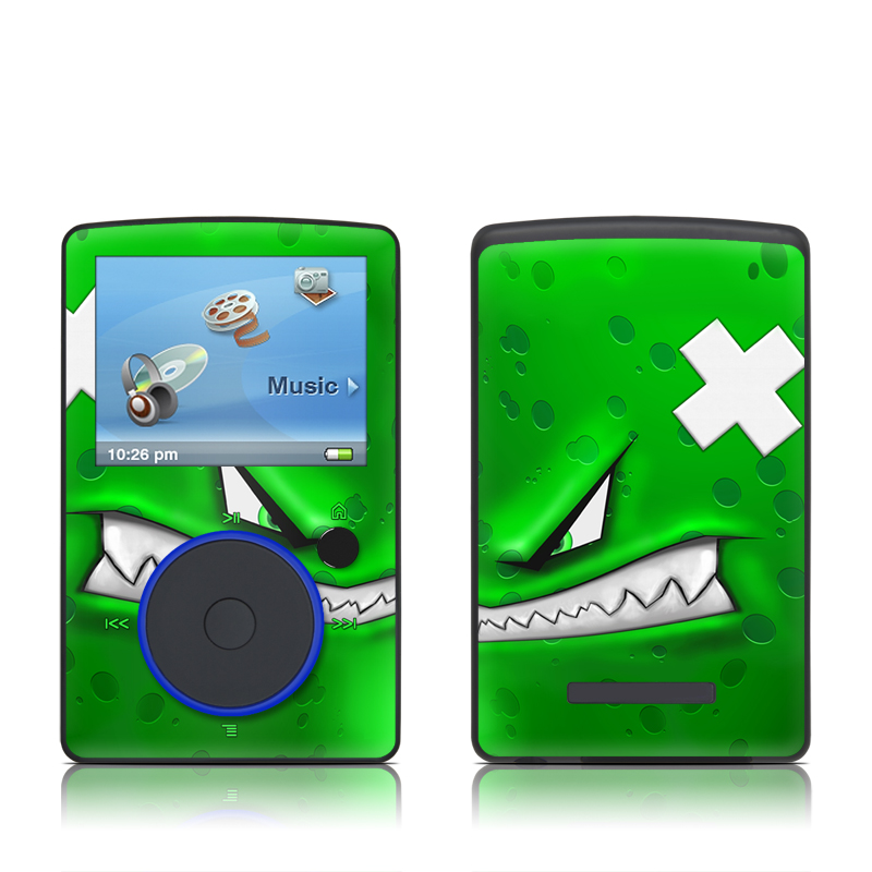 SanDisk Sansa Fuze Original Skin design of Green, Font, Animation, Logo, Graphics, Games with green, white colors