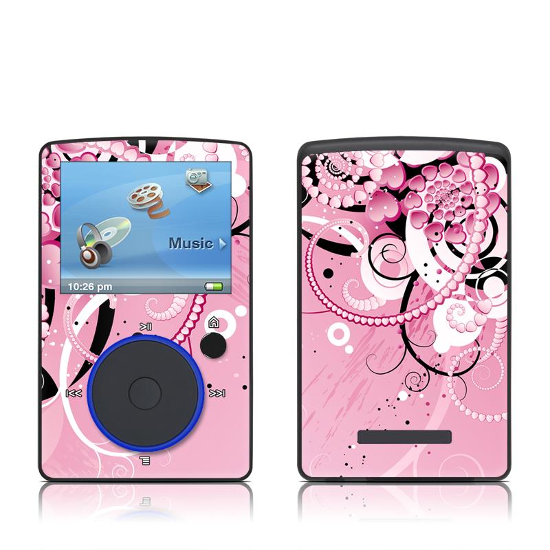 SanDisk Sansa Fuze Original Skin design of Pink, Floral design, Graphic design, Text, Design, Flower Arranging, Pattern, Illustration, Flower, Floristry with pink, gray, black, white, purple, red colors