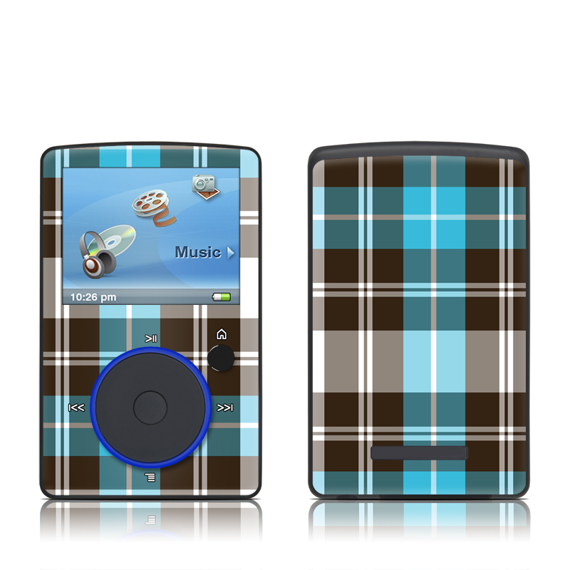 SanDisk Sansa Fuze Original Skin design of Plaid, Pattern, Tartan, Turquoise, Textile, Design, Brown, Line, Tints and shades with gray, black, blue, white colors