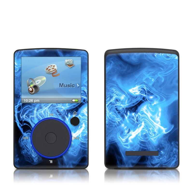 SanDisk Sansa Fuze Original Skin design of Blue, Water, Electric blue, Organism, Pattern, Smoke, Liquid, Art with blue, black, purple colors