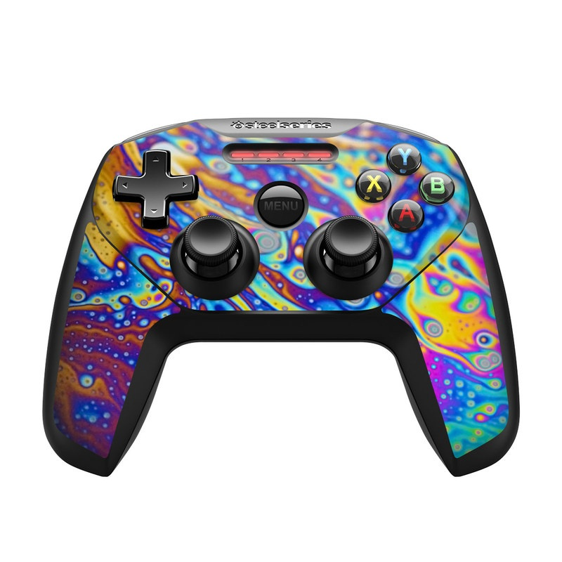 SteelSeries Nimbus Controller Skin design of Psychedelic art, Blue, Pattern, Art, Visual arts, Water, Organism, Colorfulness, Design, Textile with gray, blue, orange, purple, green colors