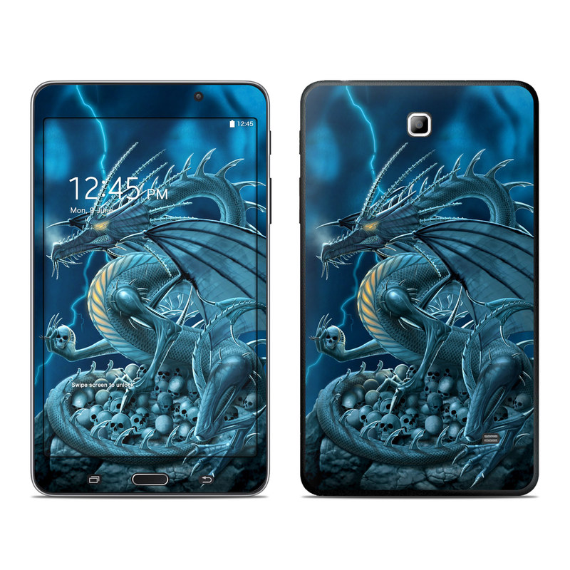Samsung Galaxy Tab 4 7.0 Skin design of Cg artwork, Dragon, Mythology, Fictional character, Illustration, Mythical creature, Art, Demon with blue, yellow colors
