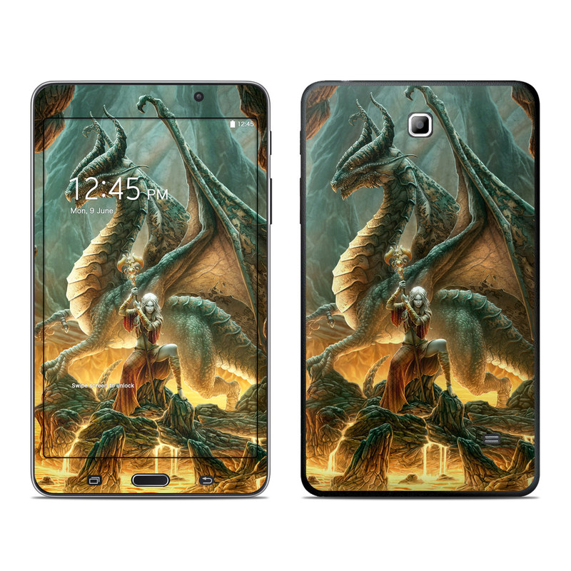 Samsung Galaxy Tab 4 7.0 Skin design of Dragon, Cg artwork, Mythology, Fictional character, Mythical creature, Art, Illustration, Cryptid, Sculpture, Demon with black, green, red, gray, blue colors