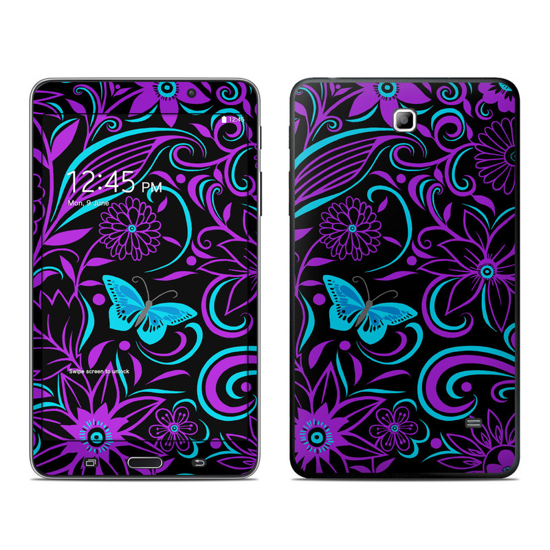 Samsung Galaxy Tab 4 7.0 Skin design of Pattern, Purple, Violet, Turquoise, Teal, Design, Floral design, Visual arts, Magenta, Motif with black, purple, blue colors