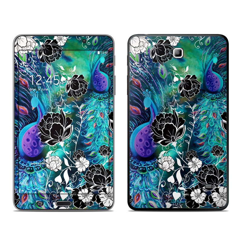 Samsung Galaxy Tab 4 7.0 Skin design of Pattern, Psychedelic art, Organism, Turquoise, Purple, Graphic design, Art, Design, Illustration, Fractal art with black, blue, gray, green, white colors