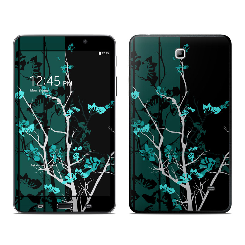 Samsung Galaxy Tab 4 7.0 Skin design of Branch, Black, Blue, Green, Turquoise, Teal, Tree, Plant, Graphic design, Twig with black, blue, gray colors