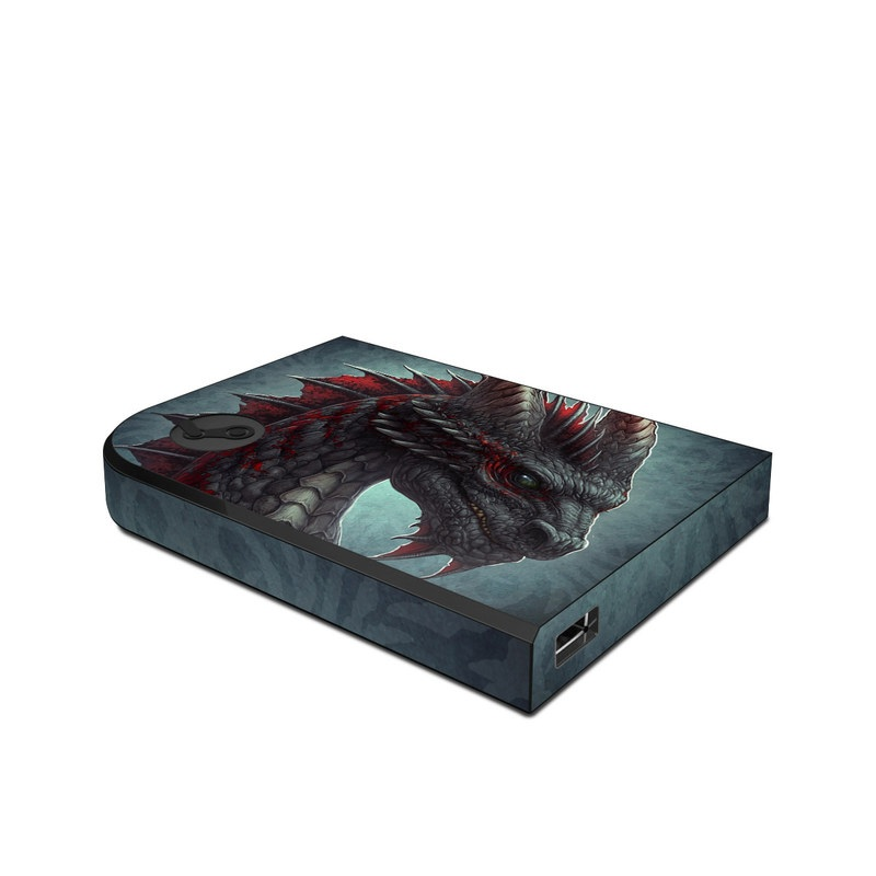 Valve Steam Link Skin design of Dragon, Fictional character, Mythical creature, Demon, Cg artwork, Illustration, Green dragon, Supernatural creature, Cryptid with red, gray, blue colors