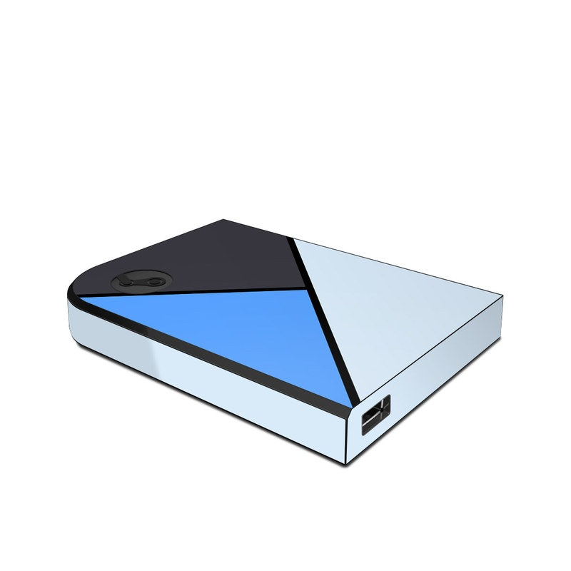 Valve Steam Link Skin design of Blue, Line, Cobalt blue, Triangle, Azure, Electric blue, Parallel, Symmetry, Font with blue, gray, black colors
