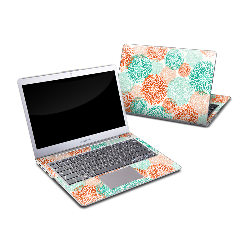 Samsung Series 5 13.3-inch Ultrabook Skin design of Pattern, Turquoise, Aqua, Orange, Teal, Line, Design, Circle, Textile, Dahlia with gray, pink, white, blue, green colors