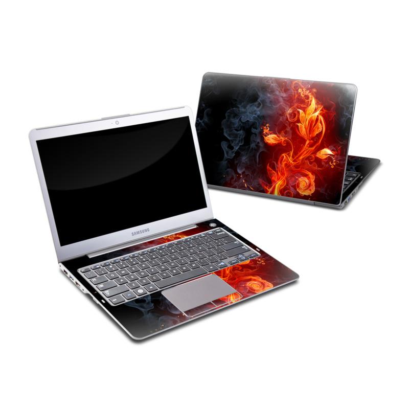 Samsung Series 5 13.3-inch Ultrabook Skin design of Flame, Fire, Heat, Red, Orange, Fractal art, Graphic design, Geological phenomenon, Design, Organism with black, red, orange colors