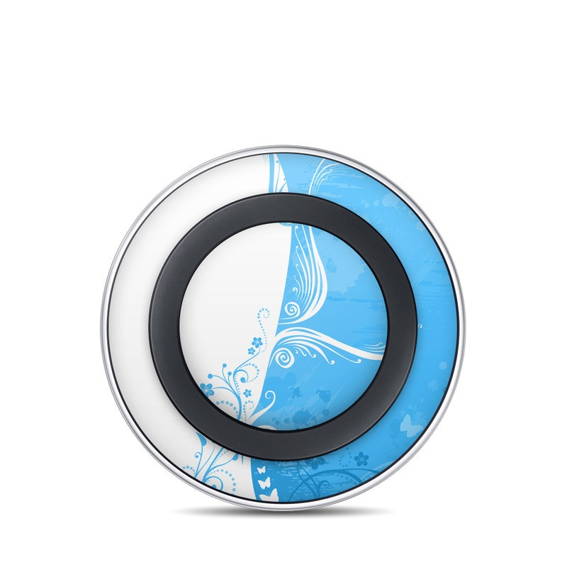 Samsung Wireless Charging Pad Skin design of Blue, Aqua, Pattern, Turquoise, Azure, Teal, Design, Graphic design, Visual arts, Illustration with blue, white colors