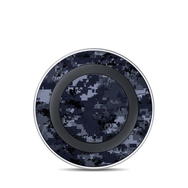 Samsung Wireless Charging Pad Skin design of Military camouflage, Black, Pattern, Blue, Camouflage, Design, Uniform, Textile, Black-and-white, Space with black, gray, blue colors
