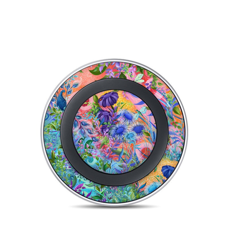 Samsung Wireless Charging Pad Skin design of Psychedelic art, Painting, Art, Acrylic paint, Pattern, Modern art, Visual arts, Textile, Design, Organism with gray, blue, green, pink colors