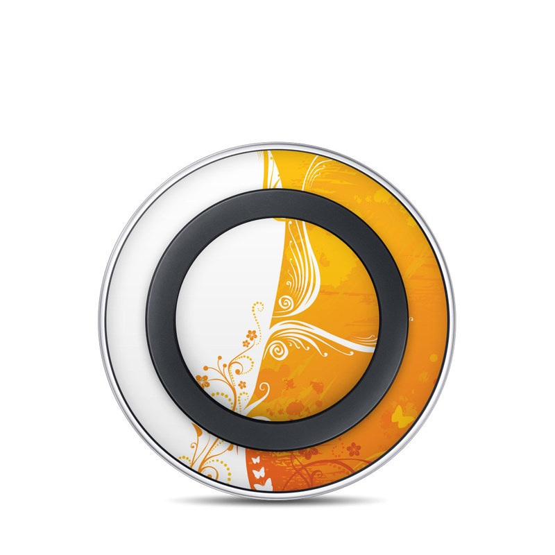 Samsung Wireless Charging Pad Skin design of Orange, Yellow, Pattern, Amber, Design, Ornament, Floral design, Graphics, Graphic design, Visual arts with orange, white, red, pink, yellow colors