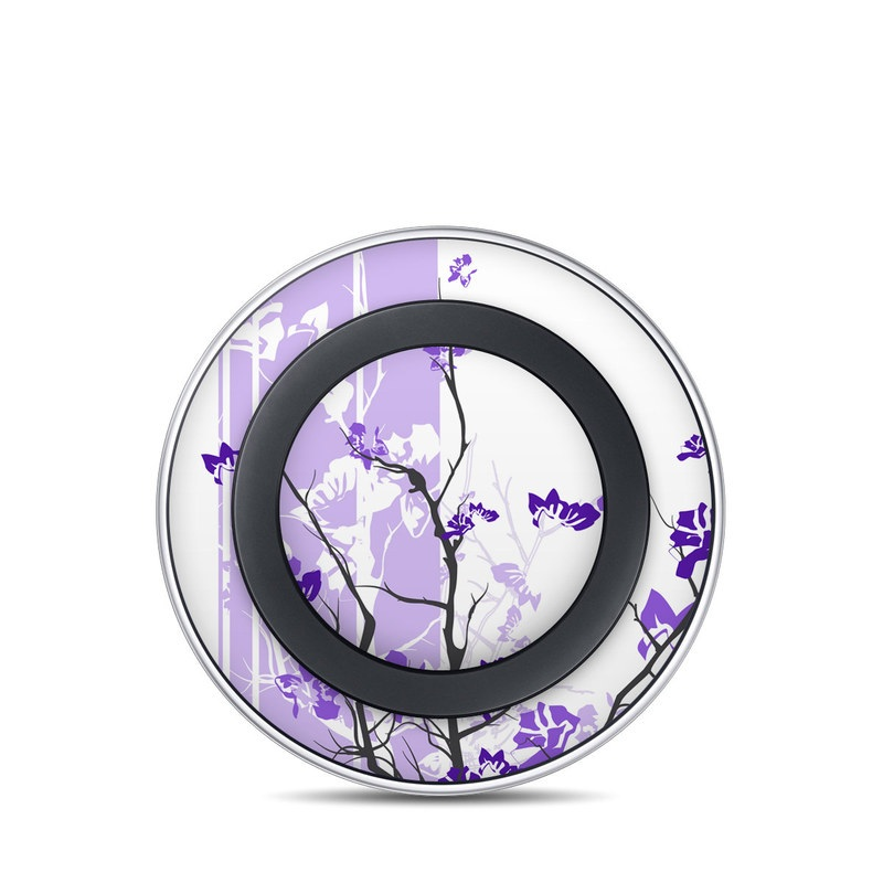 Samsung Wireless Charging Pad Skin design of Branch, Purple, Violet, Lilac, Lavender, Plant, Twig, Flower, Tree, Wildflower with white, purple, gray, pink, black colors