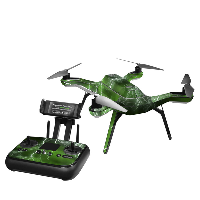 3DR Solo Skin design of Thunderstorm, Thunder, Lightning, Nature, Green, Water, Sky, Atmosphere, Atmospheric phenomenon, Daytime with green, black, white colors