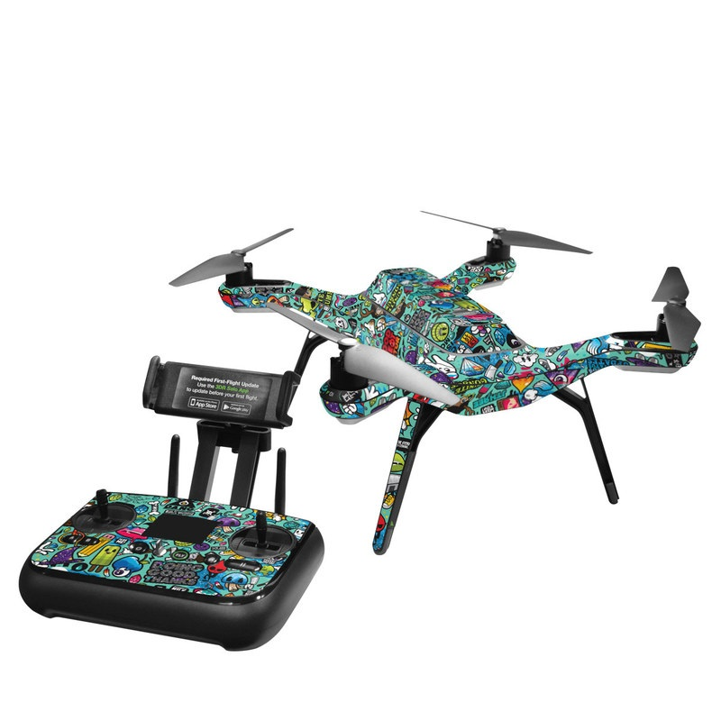 3DR Solo Skin design of Cartoon, Art, Pattern, Design, Illustration, Visual arts, Doodle, Psychedelic art with black, blue, gray, red, green colors