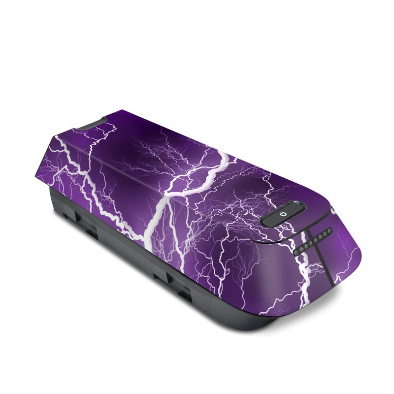 3DR Solo Battery Skin design of Thunder, Lightning, Thunderstorm, Sky, Nature, Purple, Violet, Atmosphere, Storm, Electric blue with purple, black, white colors