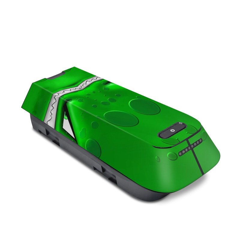 3DR Solo Battery Skin design of Green, Font, Animation, Logo, Graphics, Games with green, white colors