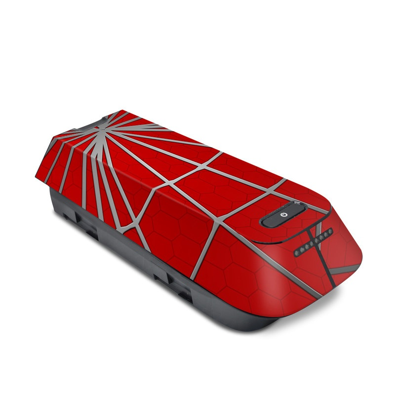 3DR Solo Battery Skin design of Red, Symmetry, Circle, Pattern, Line with red, black, gray colors