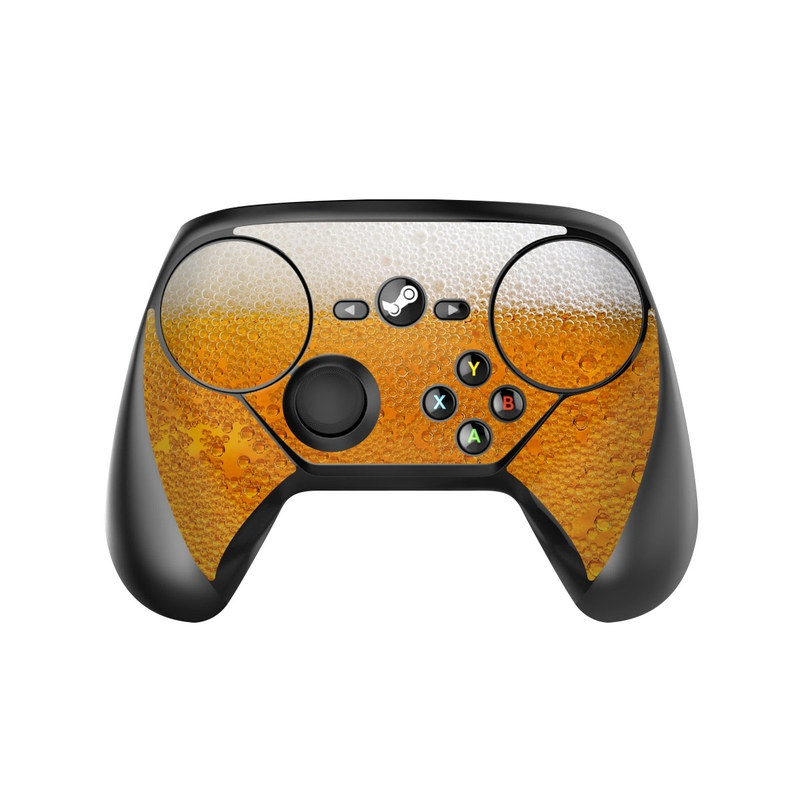 Valve Steam Controller Skin design of Yellow, Orange, Amber, Water, Caramel color, Beer, Drink with yellow, white colors