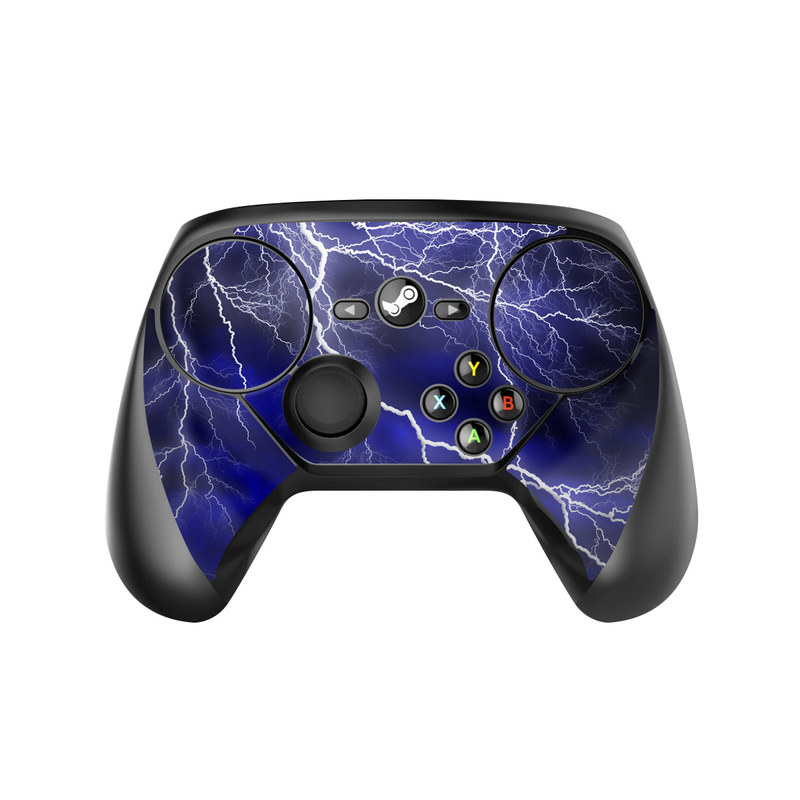 Valve Steam Controller Skin design of Thunder, Lightning, Thunderstorm, Sky, Nature, Electric blue, Atmosphere, Daytime, Blue, Atmospheric phenomenon with blue, black, white colors