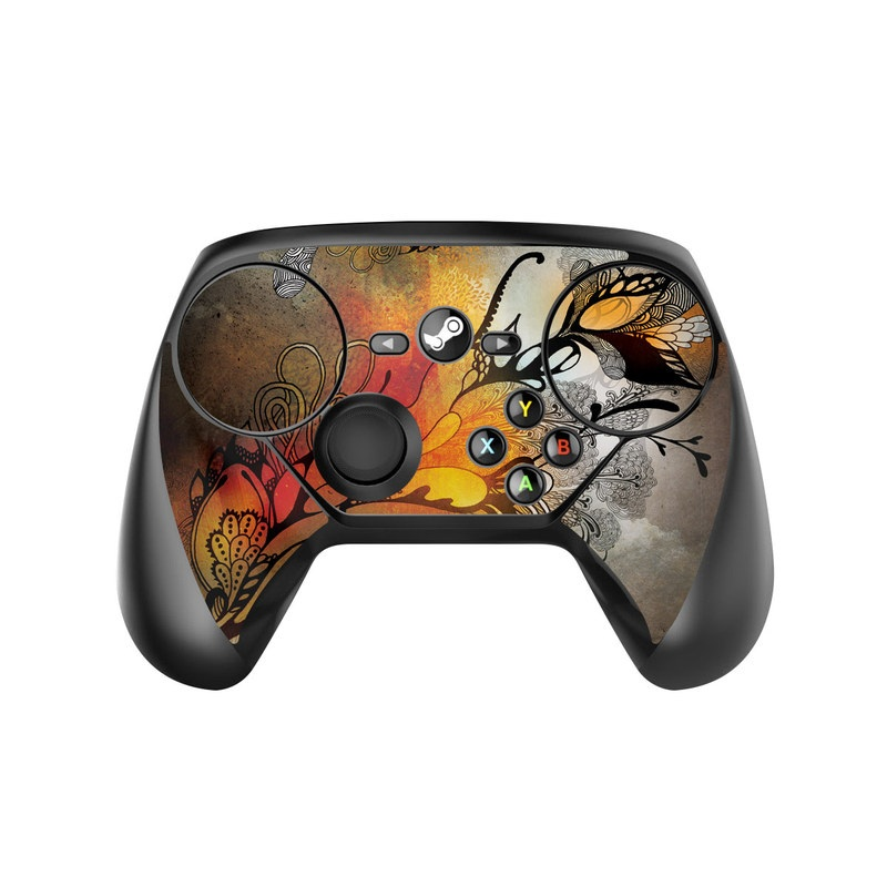 Valve Steam Controller Skin design of Yellow, Orange, Art, Branch, Leaf, Graphic design, Visual arts, Pattern, Design, Modern art with black, red, orange, yellow colors