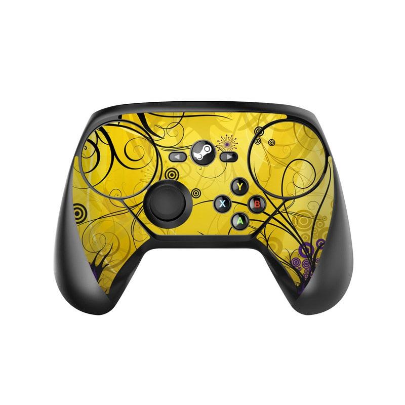Valve Steam Controller Skin design of Yellow, Pattern, Floral design, Purple, Graphic design, Design, Wallpaper, Art, Illustration, Visual arts with orange, yellow, black, purple colors
