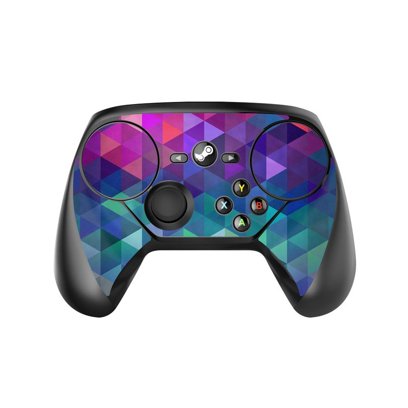 Valve Steam Controller Skin design of Purple, Violet, Pattern, Blue, Magenta, Triangle, Line, Design, Graphic design, Symmetry with blue, purple, green, red, pink colors