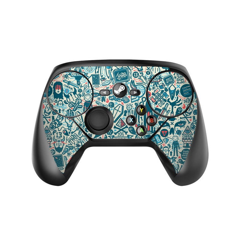 Valve Steam Controller Skin design of Pattern, Psychedelic art, Turquoise, Art, Design, Visual arts, Line, Drawing, Doodle, Graphic design with white, green, blue, red colors