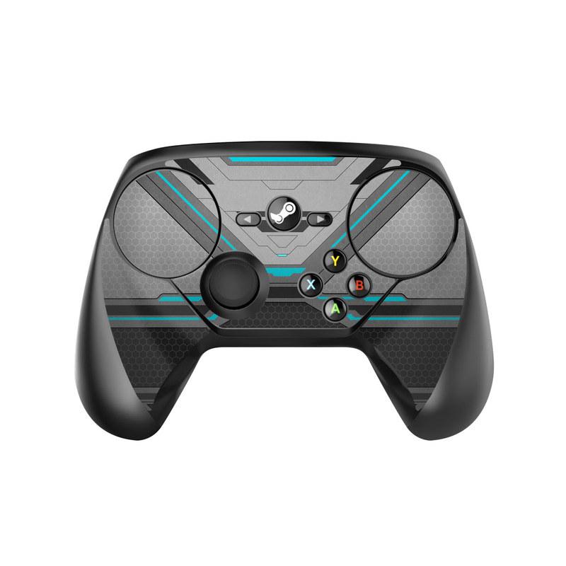 Valve Steam Controller Skin design of Blue, Turquoise, Pattern, Teal, Symmetry, Design, Line, Automotive design, Font with black, gray, blue colors