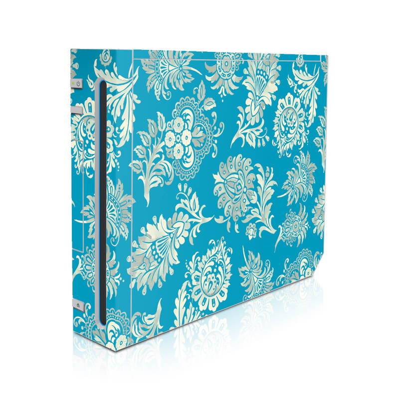 Wii Skin design of Pattern, Aqua, Turquoise, Teal, Design, Motif, Wrapping paper, Visual arts, Floral design, Pedicel with blue, gray, yellow colors