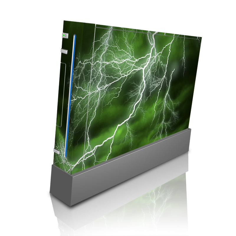 Wii Skin design of Thunderstorm, Thunder, Lightning, Nature, Green, Water, Sky, Atmosphere, Atmospheric phenomenon, Daytime with green, black, white colors