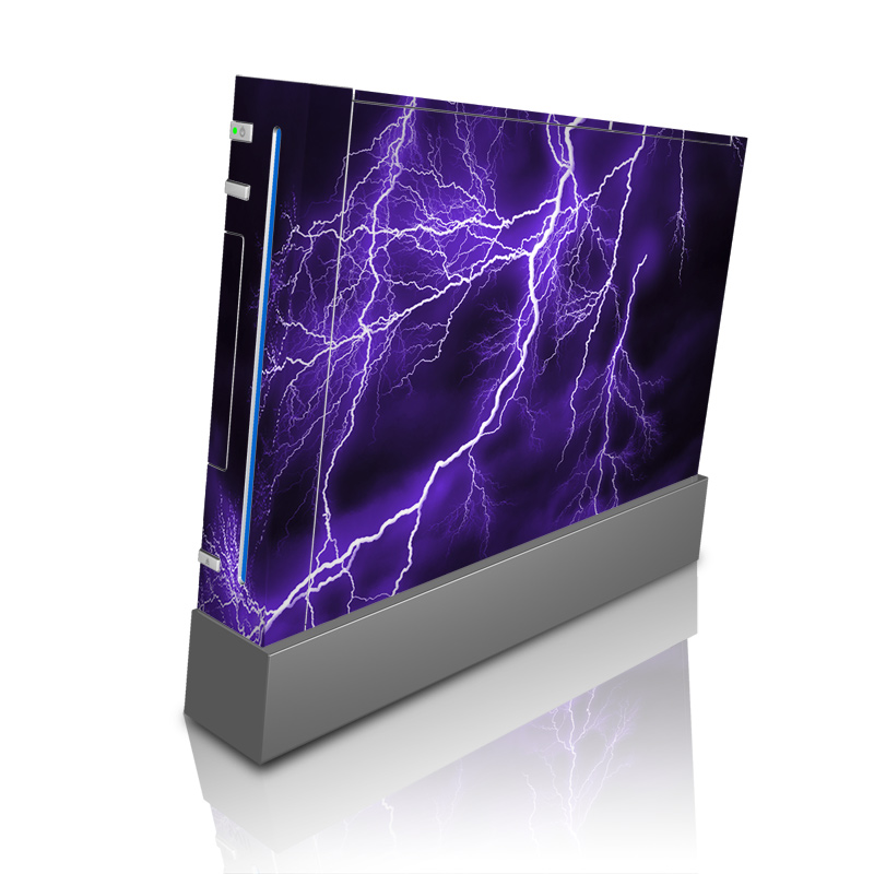 Wii Skin design of Thunder, Lightning, Thunderstorm, Sky, Nature, Purple, Violet, Atmosphere, Storm, Electric blue with purple, black, white colors