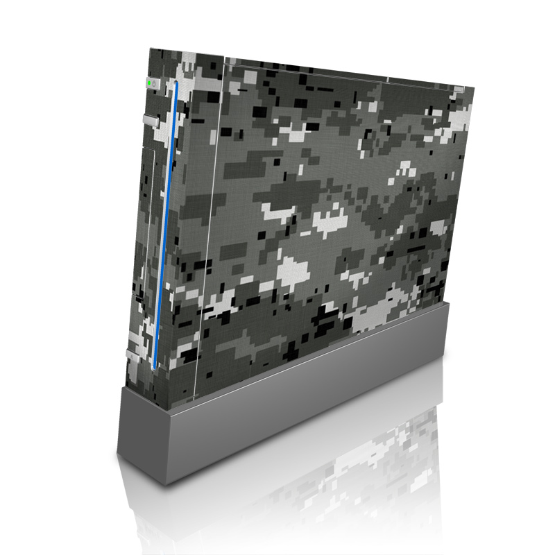 Wii Skin design of Military camouflage, Pattern, Camouflage, Design, Uniform, Metal, Black-and-white with black, gray colors