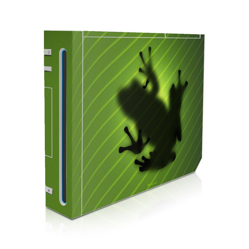 Wii Skin design of Green, Frog, Tree frog, Amphibian, Shadow, Silhouette, Macro photography, Illustration with green, black colors