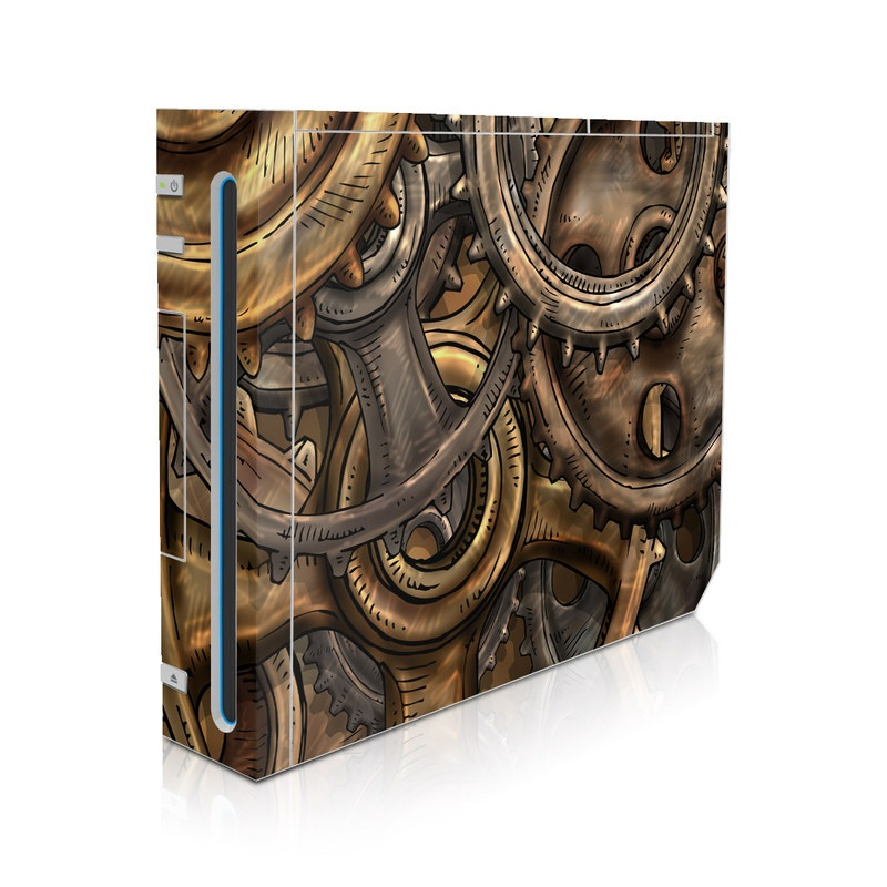 Wii Skin design of Metal, Auto part, Bronze, Brass, Copper with black, red, green, gray colors