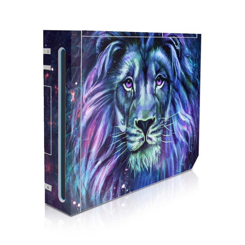 Wii Skin design of Lion, Felidae, Purple, Wildlife, Big cats, Illustration, Darkness, Space, Painting, Art with purple, blue, green, black, white, red colors