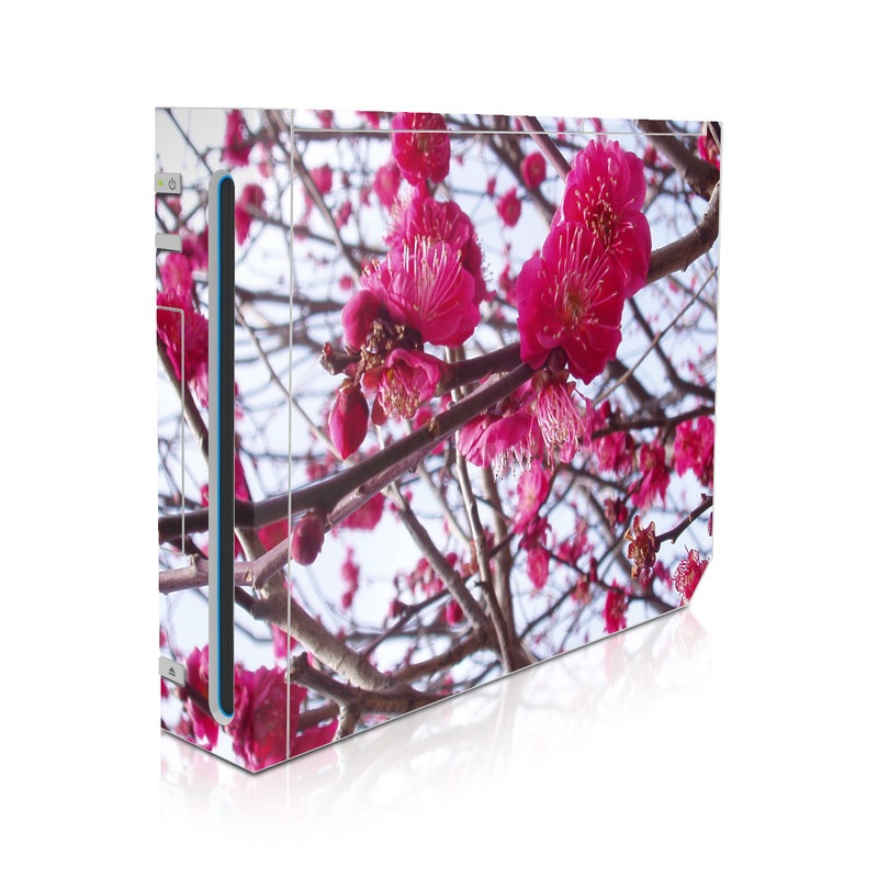 Wii Skin design of Flower, Spring, Plant, Blossom, Branch, Pink, Tree, Petal, Twig, Flowering plant with gray, red, black, purple, white colors