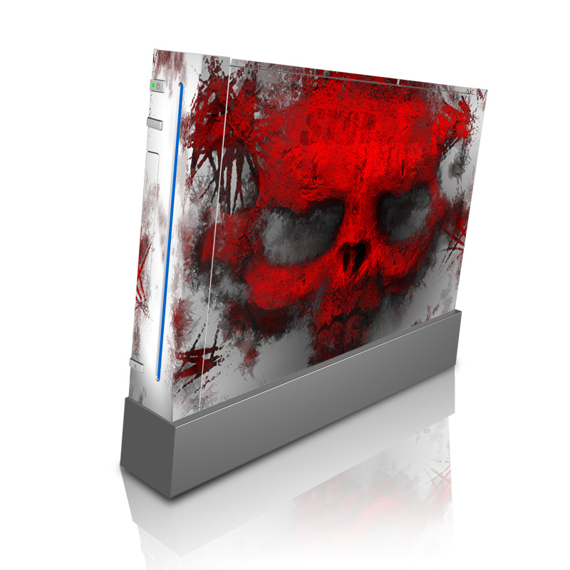 Wii Skin design of Red, Graphic design, Skull, Illustration, Bone, Graphics, Art, Fictional character with red, gray, black, white colors